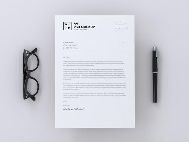 a4 letterhead mockup on minimal background psd file premium download