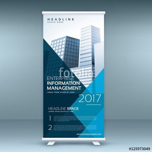 blue roll up display banner mockup template stock image and royalty