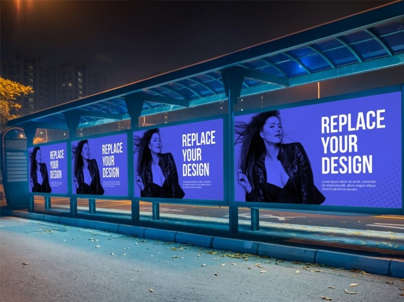 bus stop advertisement billboard mockup mockup love