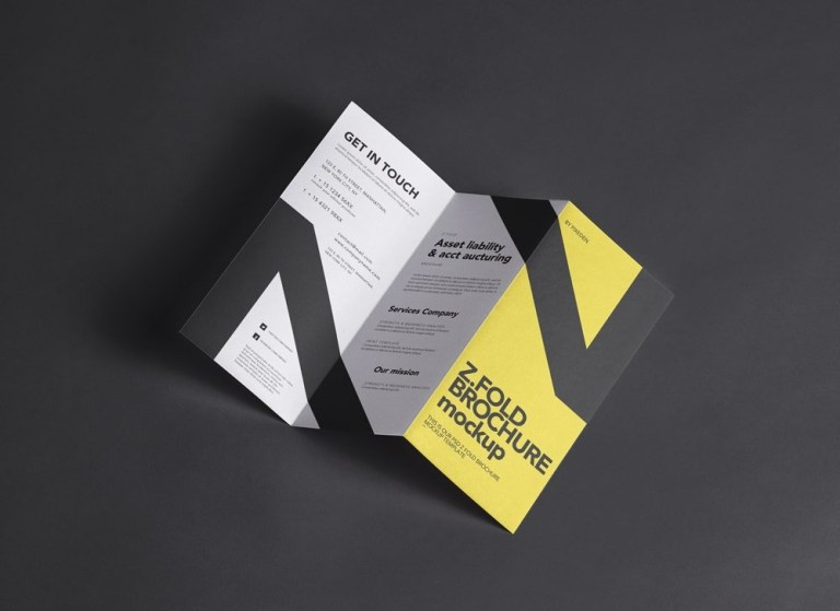 clean z fold brochure mockup mockupworld