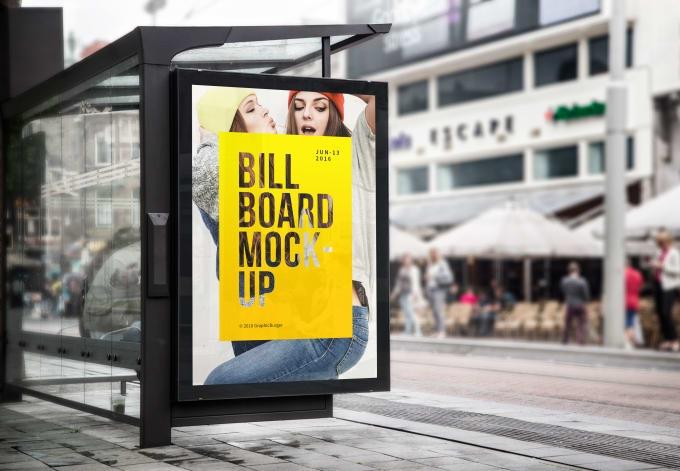 create a realistic bus stop billboard mockup robertjmueller