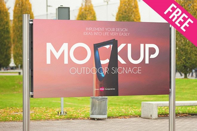 free outdoor signage mock up in psd free psd templates