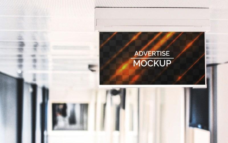 hanging advertising banner mockup mockupblast