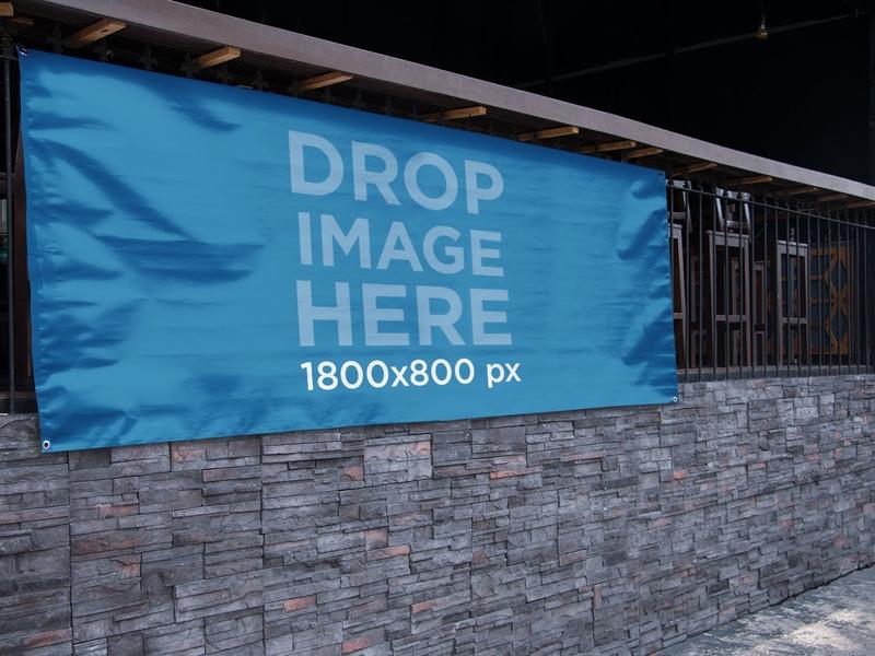horizontal banner mockup hanging outside at a bar a10876 print