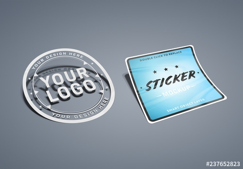 isolated multi shape sticker mockup buy this stock template and