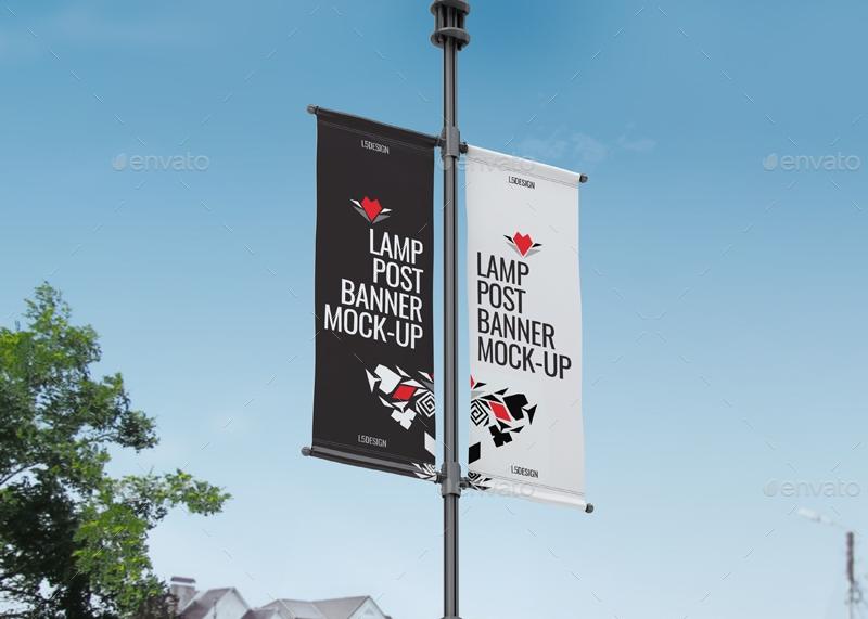 lamp post banner mock up l5design graphicriver