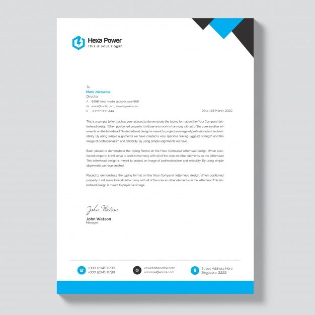 letterhead mockup with blue and black shapes premium psd letterhead