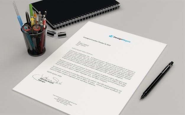 letterhead mockup with book psd file premium download