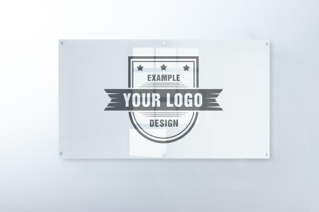 logo on glass sign front view mockup maker mediamodifier