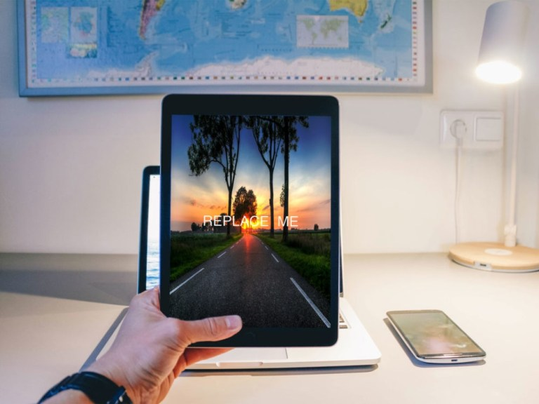 man using ipad mockup mockupblast