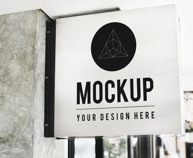 minimal shop sign mockup with geometric design psd file free download