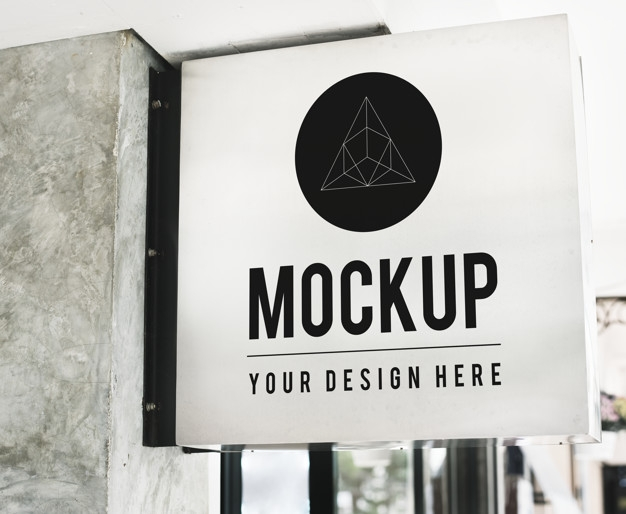 minimal shop sign mockup with geometric design psd file free download