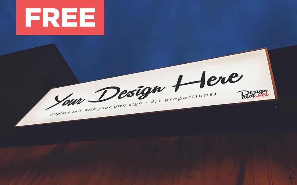 outdoor rectangular night sign free mockup design a lot