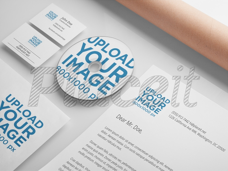 placeit branding mockup featuring a set of various stationery items
