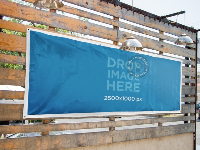 placeit horizontal banner mockup nailed to a wooden wall