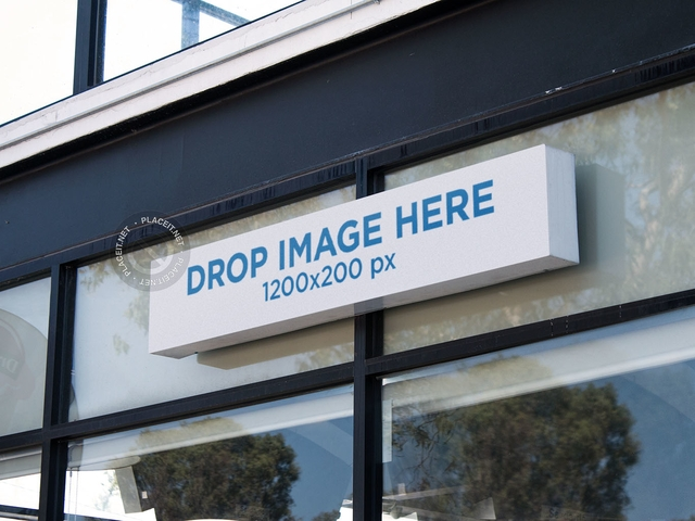 placeit long horizontal sign mockup outside a front window of a store