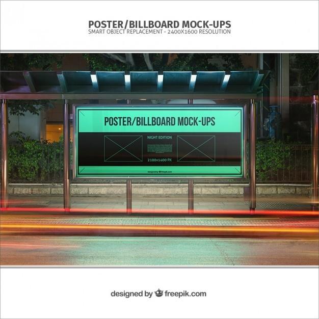 psd bus stop billboard mockup psd free download pikoff