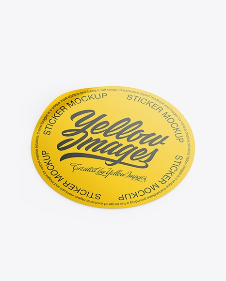round sticker mockup in stationery mockups on yellow images object