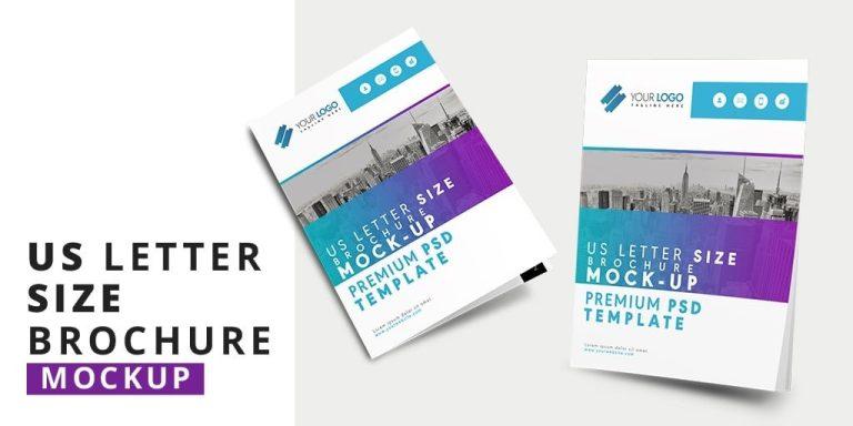 us letter size brochure mockup template designertale