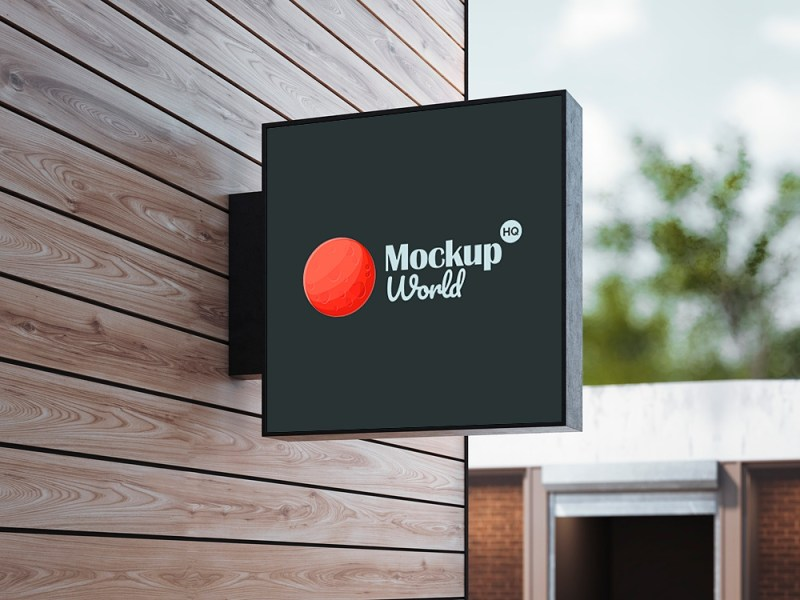 wall hanging sign mockup free mockup world hq