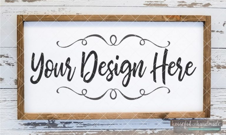 white framed farmhouse wood sign mockup digital file sofontsy