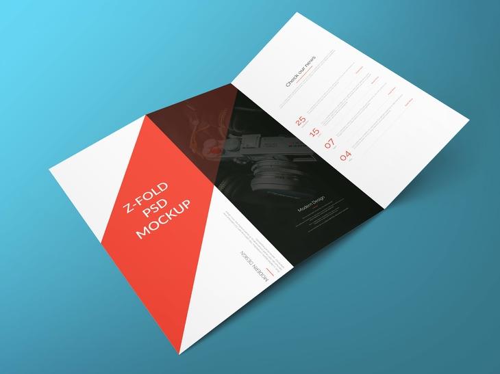 z fold brochure free psd mockup graphberry