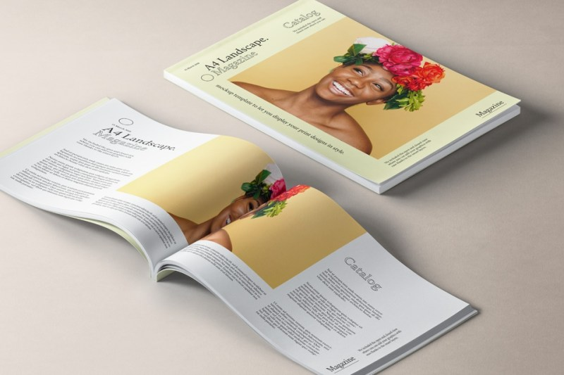 a4 landscape magazine mockup v2 psd mock up templates pixeden