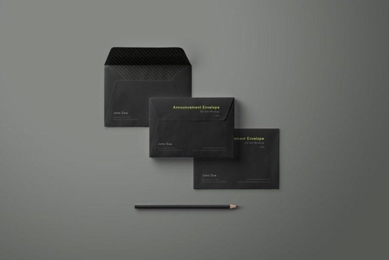 envelope mockup set mockupworld