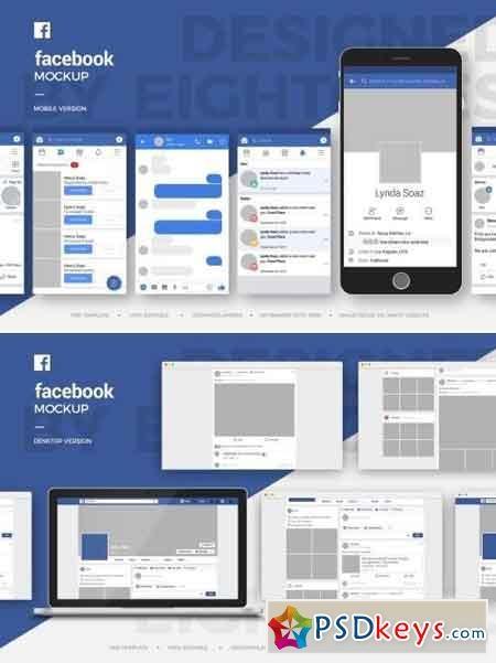 facebook mobile and desktop mock up template free download