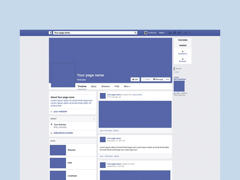facebook page mockup free psd template psd repo