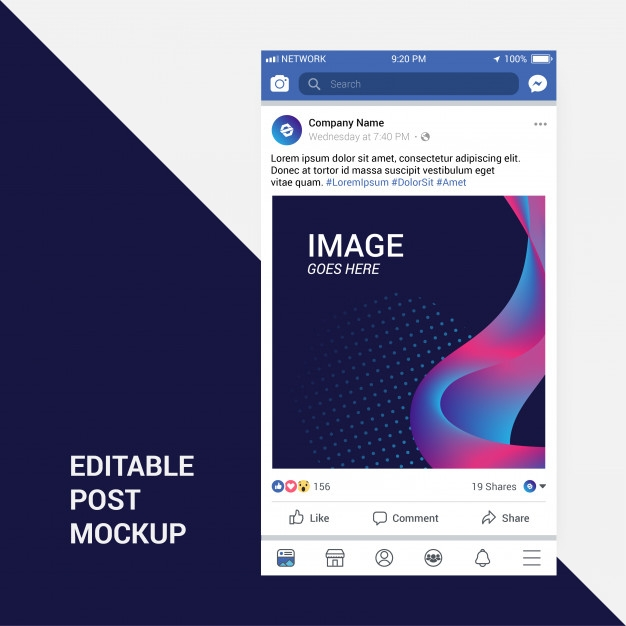 facebook post mockup vector premium download