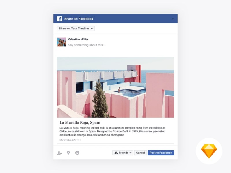facebook share dialog mockup fluxes freebies