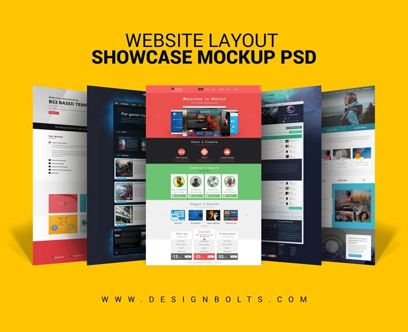 free website layout design showcase mock up psd for web designers