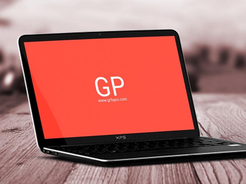 freebie laptop on wood mockup psd free psd ui download
