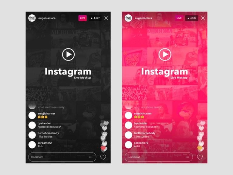 instagram live ios ui template mockup free psd template psd repo
