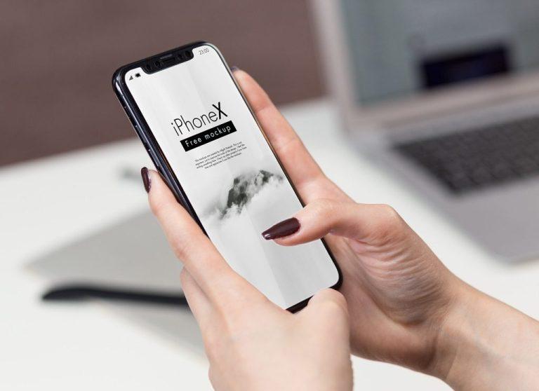 iphone x in office mockup set mockupworld