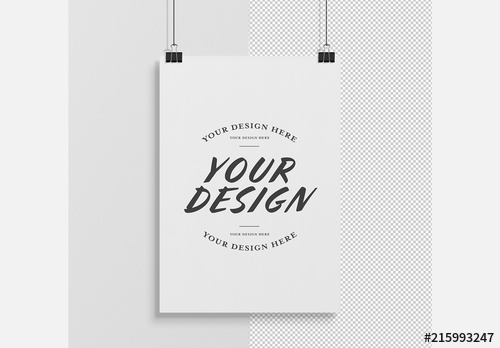 isolated vertical hanging poster mockup buy this stock template and