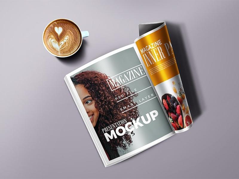magazine mockup psd graphicsfuel rafi on dribbble