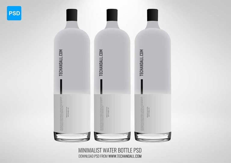 minimalist water bottle mockup tech all