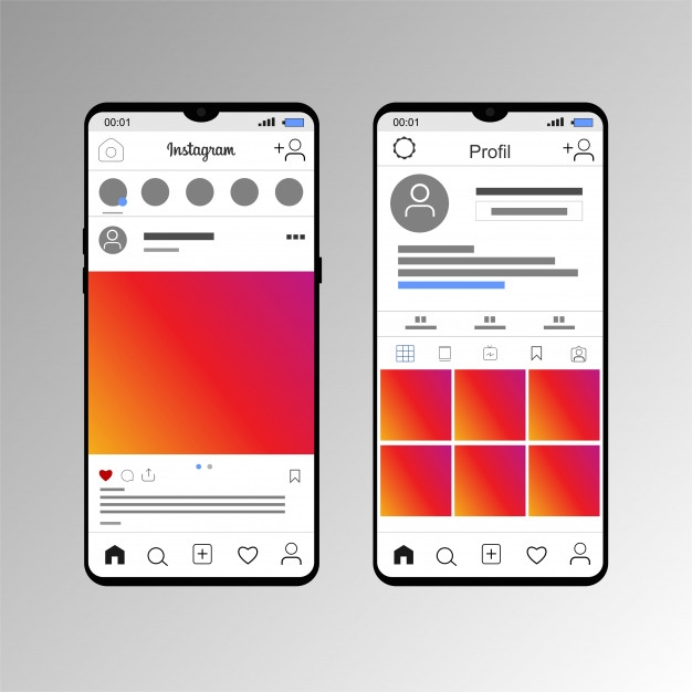 mockup the display of pos instagram with a smartphone vector