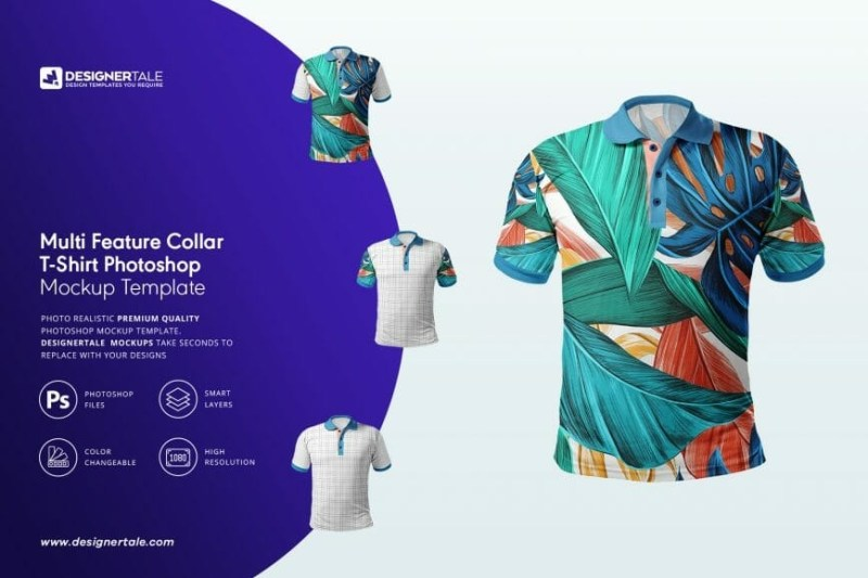 multi feature collar t shirt mockup designertale