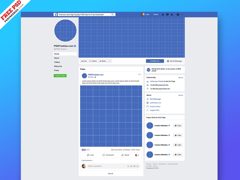 new facebook page mockup 2019 psd psd freebies on dribbble