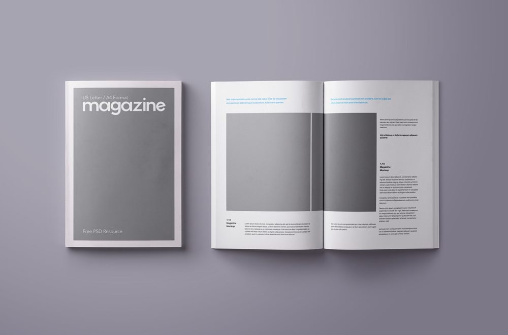 open and closed magazine a4 us letter mockup mockupworld