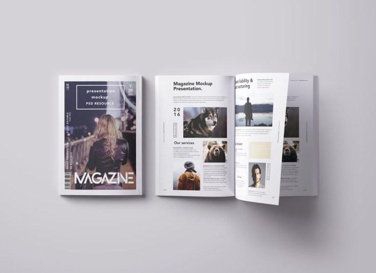 overhead view magazine mockup mockupworld