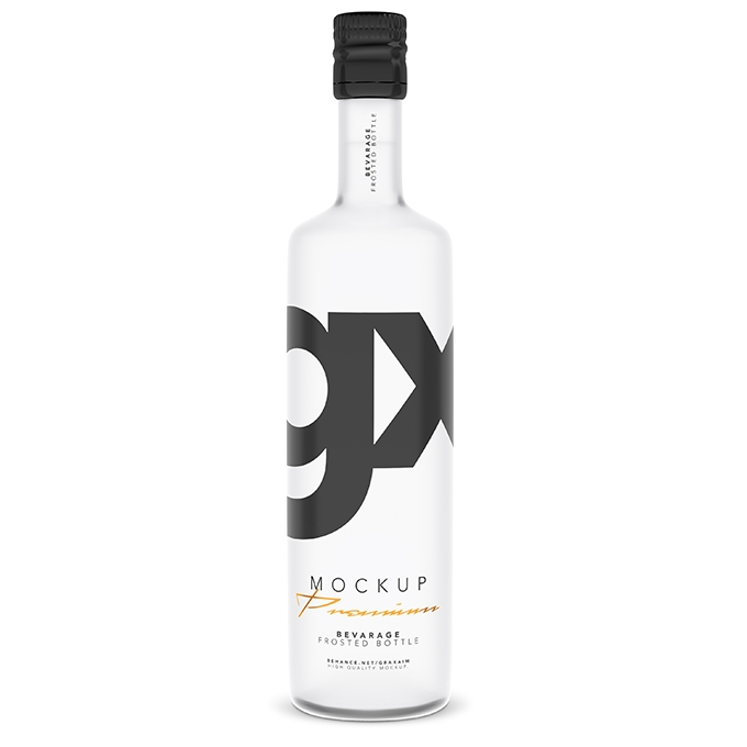 packreate beverage frosted bottle mockup
