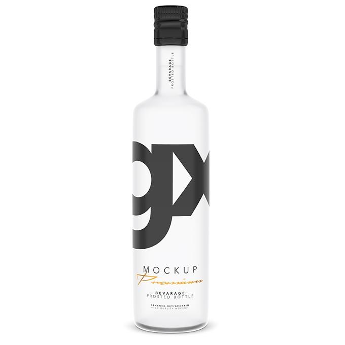 packreate beverage frosted bottle mockup