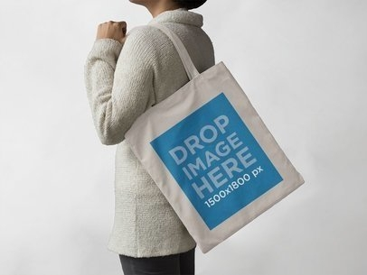 placeit canvas tote bag mockup carried a woman