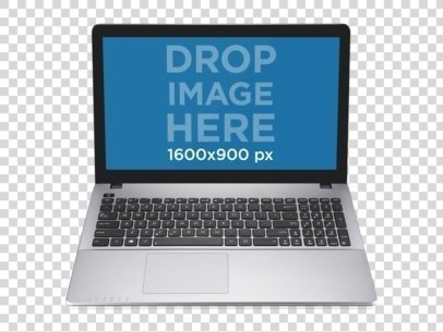 placeit pc png mockup of silver laptop over transparent background