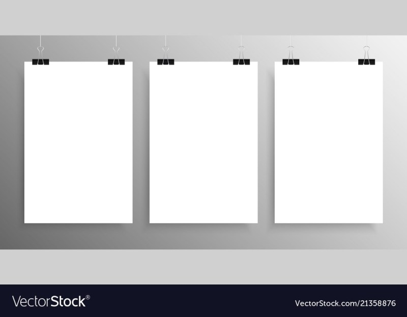 three vertical poster mockup a4 mock up royalty free vector