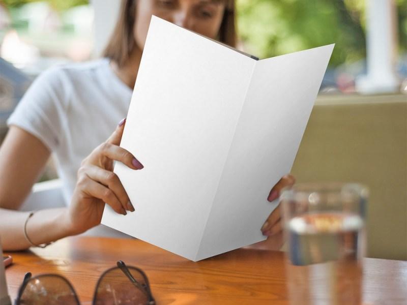 tri fold brochure restaurant menu mockup free mockup